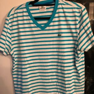 Men's Lacoste Striped V-neck T Shirt